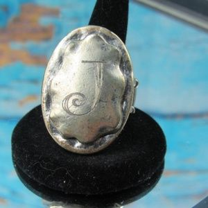 Fashion Ring With Initial J on it
